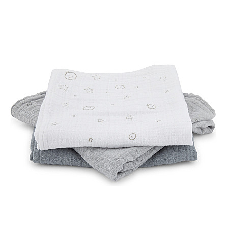 BABY MORI Star cotton muslins set of three (Blue/white/grey