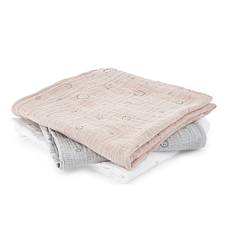 BABY MORI Star cotton muslins set of three (Pink/white/grey