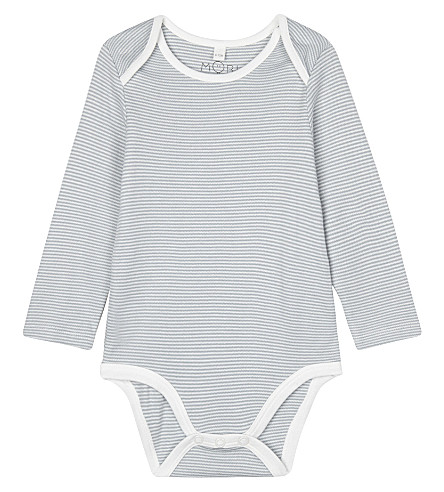 BABY MORI Striped long sleeve bodysuit 0-18 months (Blue+stripe