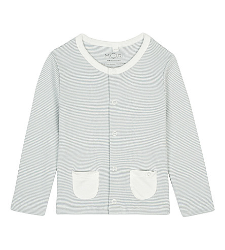BABY MORI Jersey cardigan 0-18 months (Blue+stripe