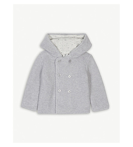 BABY MORI Hooded knitted cardigan 0-18 months (Lamb+grey