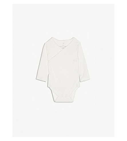 BABY MORI Kimono long-sleeved bodysuit 0-18 months (White