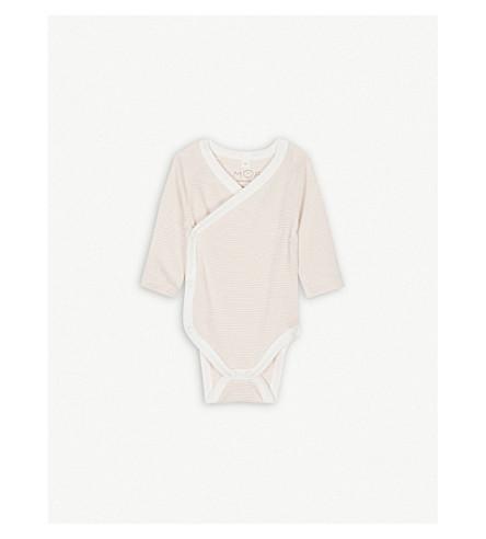 BABY MORI Kimono bamboo-cotton bodysuit 0-18 montha (Blush+stripe