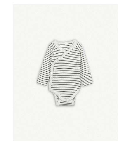 BABY MORI Kimono bodysuit 0-18 months (Grey+stripe