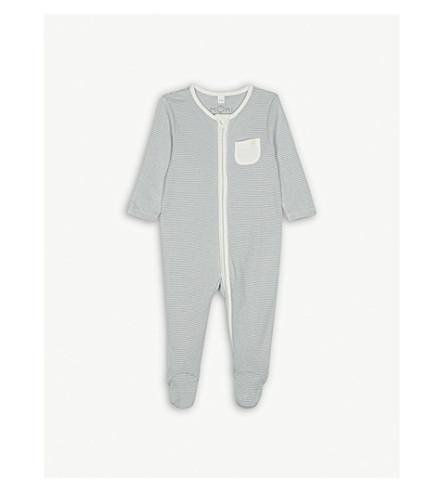 BABY MORI Striped zip-through sleep suit 0-18 months (Blue+stripe