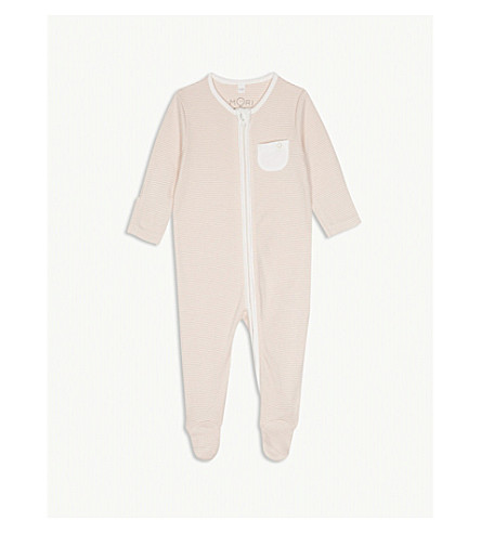 BABY MORI Striped zip-through sleep suit 0-18 months (Blush+stripe