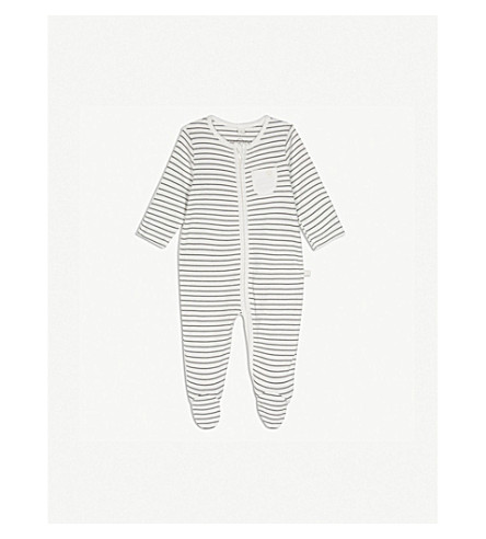 BABY MORI Striped zip-through sleep suit 0-18 months (Grey+stripe