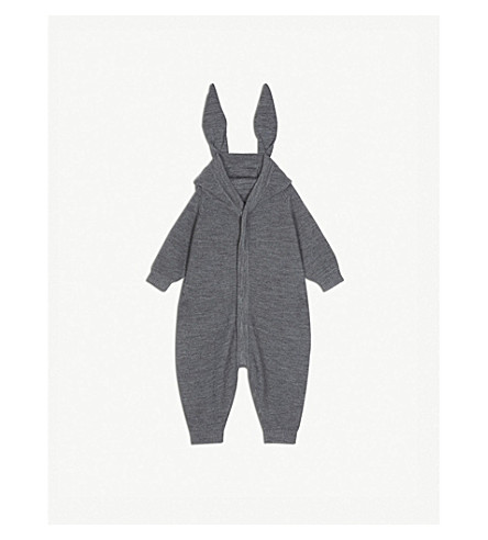 LIEWOOD Knitted rabbit ear jumpsuit 6-18 months (Grey+melange