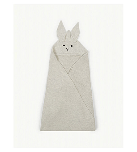 LIEWOOD Willie rabbit organic cotton blanket (Dumbo+grey