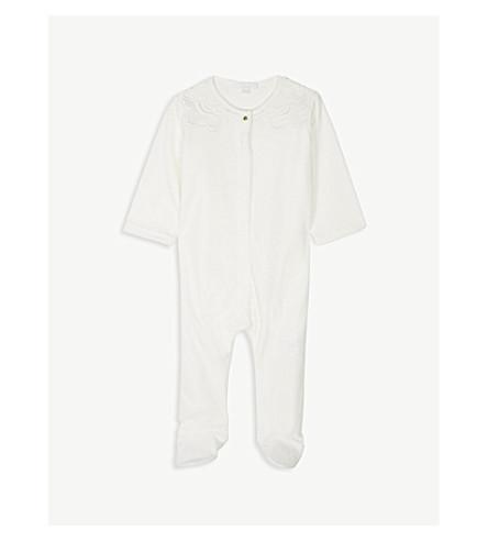 CHLOE 蕾丝装饰丝绒 sleepsuit 1-12 月 (白色