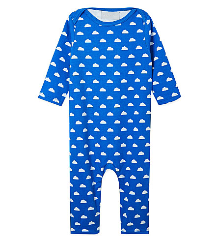 BOB & BLOSSOM Cloud print sleepsuit 0-12 months (Ink+blue+&+white+cloud