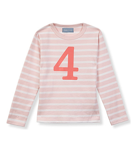 BOB & BLOSSOM Striped number t-shirt 1-6 years (Marshmellow+&+rasp