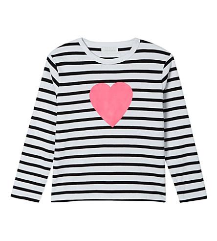 BOB & BLOSSOM Striped heart t-shirt 1-6 years (White+&+black