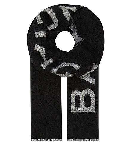 BALENCIAGA Macro logo cashmere-wool scarf (Black/white