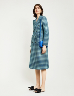 Hourglass double-breasted checked wool coat
