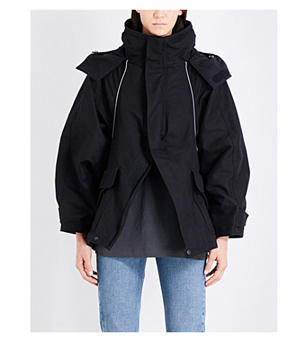 BALENCIAGA Logo-print hooded shell jacket (Noir