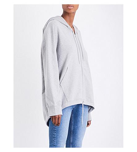 BALENCIAGA Logo-print cotton-blend hoody (Gris+chine