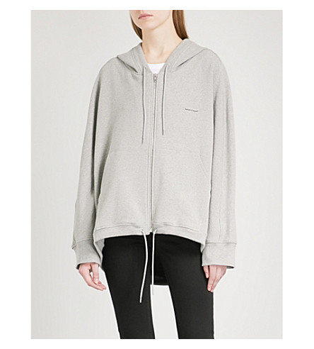 BALENCIAGA Cocoon logo-print stretch-cotton hoody (Gris+chine