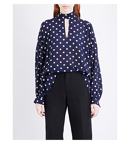 BALENCIAGA Self-tie polka-dot silk top (Navy/creme