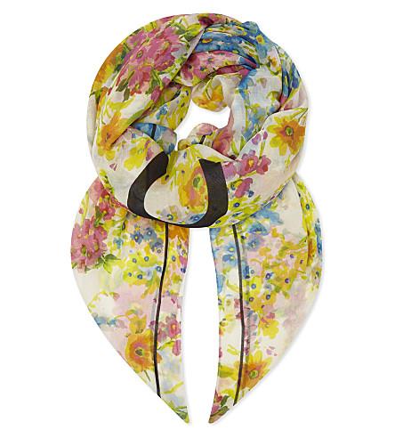 BALENCIAGA Floral and logo modal-silk scarf (Sable+substitut