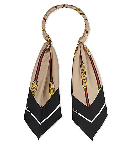 BALENCIAGA Vintage scarf hoop necklace (Black/beige