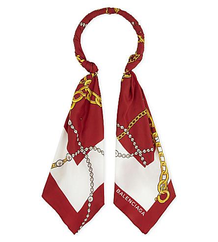 BALENCIAGA Vintage scarf hoop necklace (Flame/white