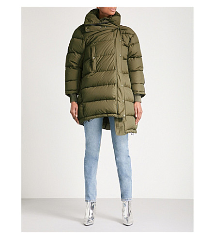 BALENCIAGA Pulled down and feather-blend puffer coat (Kaki