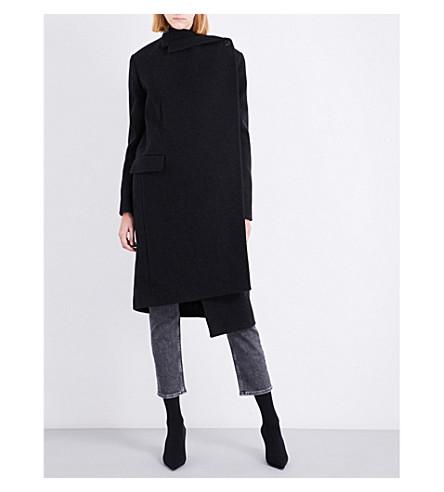 BALENCIAGA Pulled Tube asymmetric wool-blend coat (Asphalte