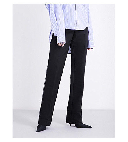 BALENCIAGA Piped straight mid-rise woven trousers (Noir