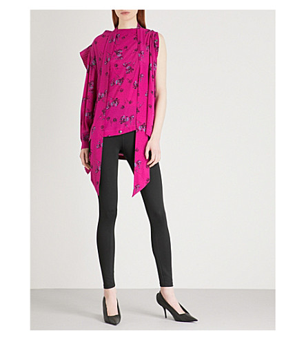 BALENCIAGA One-shoulder draped silk shirt (Fuchsia
