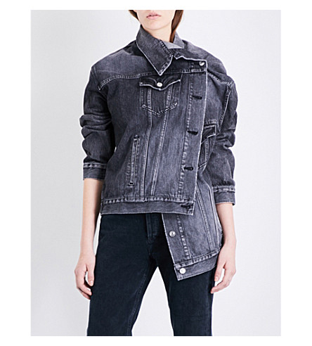 BALENCIAGA Pulled oversized denim jacket (Vintage+black