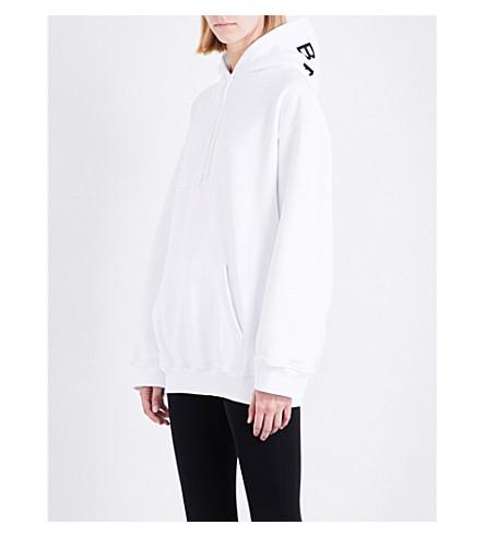 BALENCIAGA Logo-print cotton-jersey hoody (Blanc
