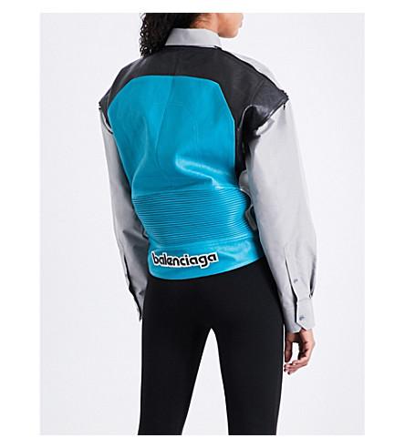 BALENCIAGA Leather-panel cotton-blend shirt (Turquoise/noir/blanc