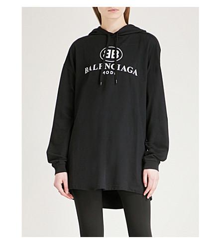 BALENCIAGA Logo-print open-back cotton hoody (Noir