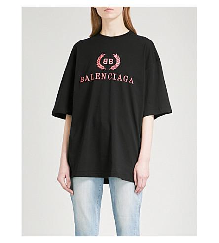 BALENCIAGA Oversized cotton-jersey T-shirt (Noir