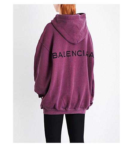 BALENCIAGA Logo-print cotton-jersey hoody (Bordeaux+lave