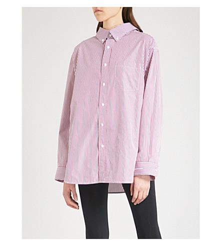 BALENCIAGA Loose-fit striped cotton shirt (Bordeaux/blanc