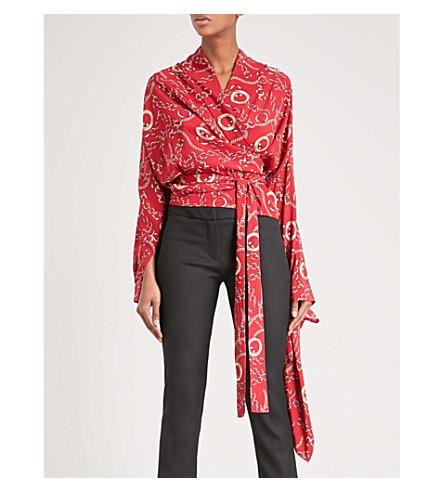 巴黎世家连锁印花丝绸包裹衬衫 (胭脂