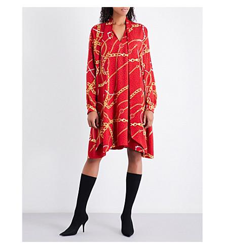 BALENCIAGA Chain-print silk dress (Rouge