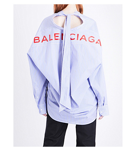 BALENCIAGA Logo-print striped relaxed-fit cotton shirt (Bleu/blanc