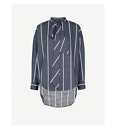 BALENCIAGA Swing striped logo-print cotton shirt (Anthracite