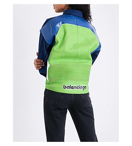 BALENCIAGA Leather-panel cotton-blend shirt (Vert/bleu/blanc