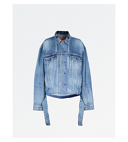 BALENCIAGA Distressed-waist denim jacket (Light+vintage+indigo