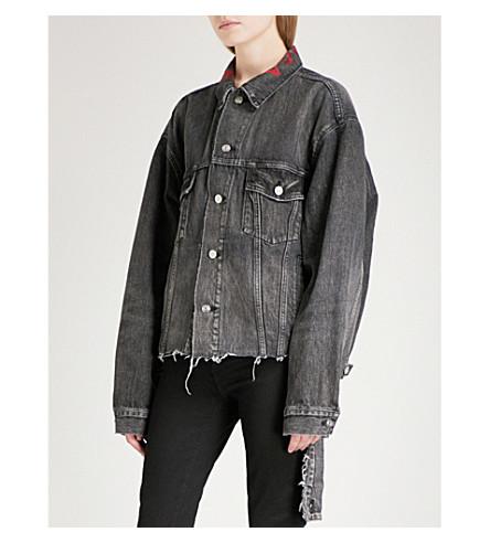 BALENCIAGA Distressed waist denim jacket (Vintage+black