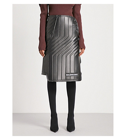 BALENCIAGA Car Design leather skirt (Noir