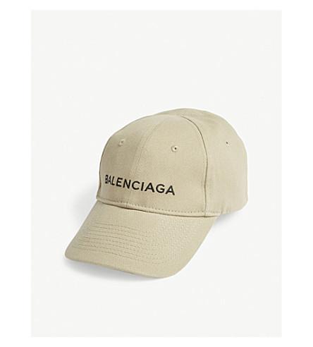 BALENCIAGA Logo cotton strapback cap (Kaki/black
