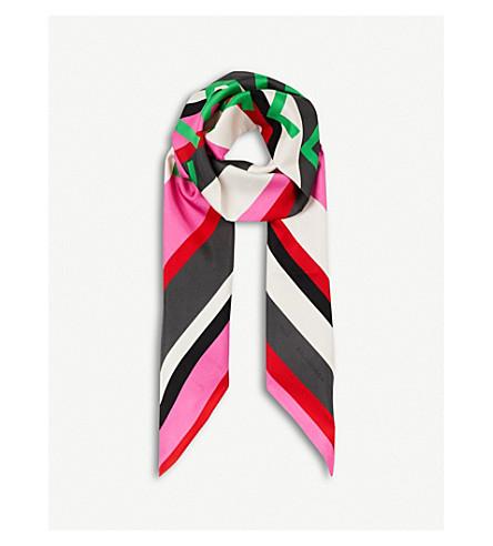 BALENCIAGA Bazar logo-print silk-twill scarf (Fuxia/dark+green