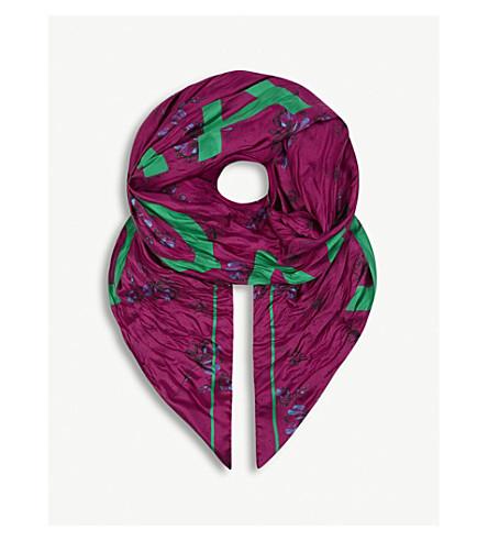 BALENCIAGA Floral polka-dot logo print silk scarf (Fuxia/light+green