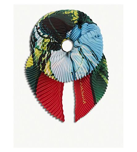 BALENCIAGA London pleated silk scarf (Flame/dark+green