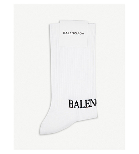 BALENCIAGA Logo-intarsia cotton-blend tennis socks (White/black
